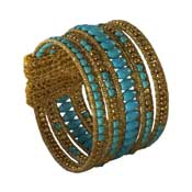 Twine Turquoise Brass Bead Bracelet